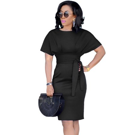 - Women Bandage Sheath Short Sleeve Bodycon Dress Summer Slim Fit Sundress
