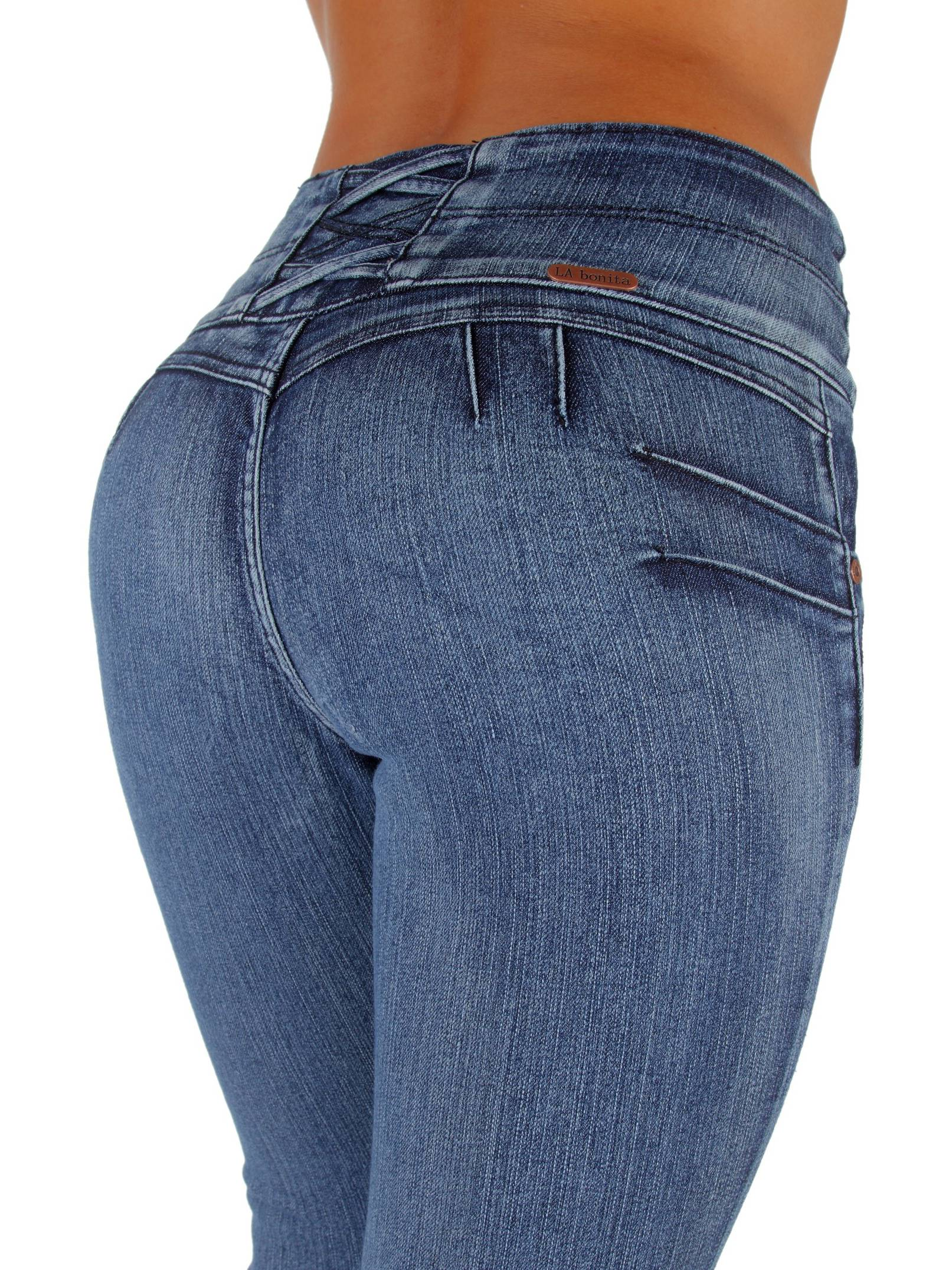 Style LA7A033S - Colombian Design, Mid Waist, Butt Lift, Skinny Jeans