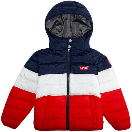 Levi's Boys' Little Puffer Jacket, White/Red/Navy, 6 - image 1 de 1