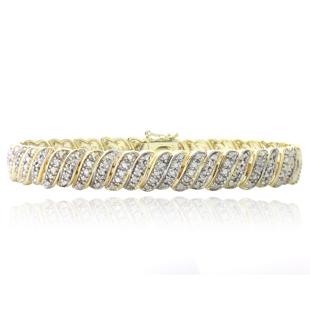 18K Gold Plated 1ct Diamond Tennis Bracelet by SilverSpeck