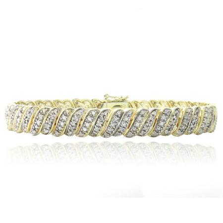 - 18K Gold Plated 1ct Diamond Tennis Bracelet