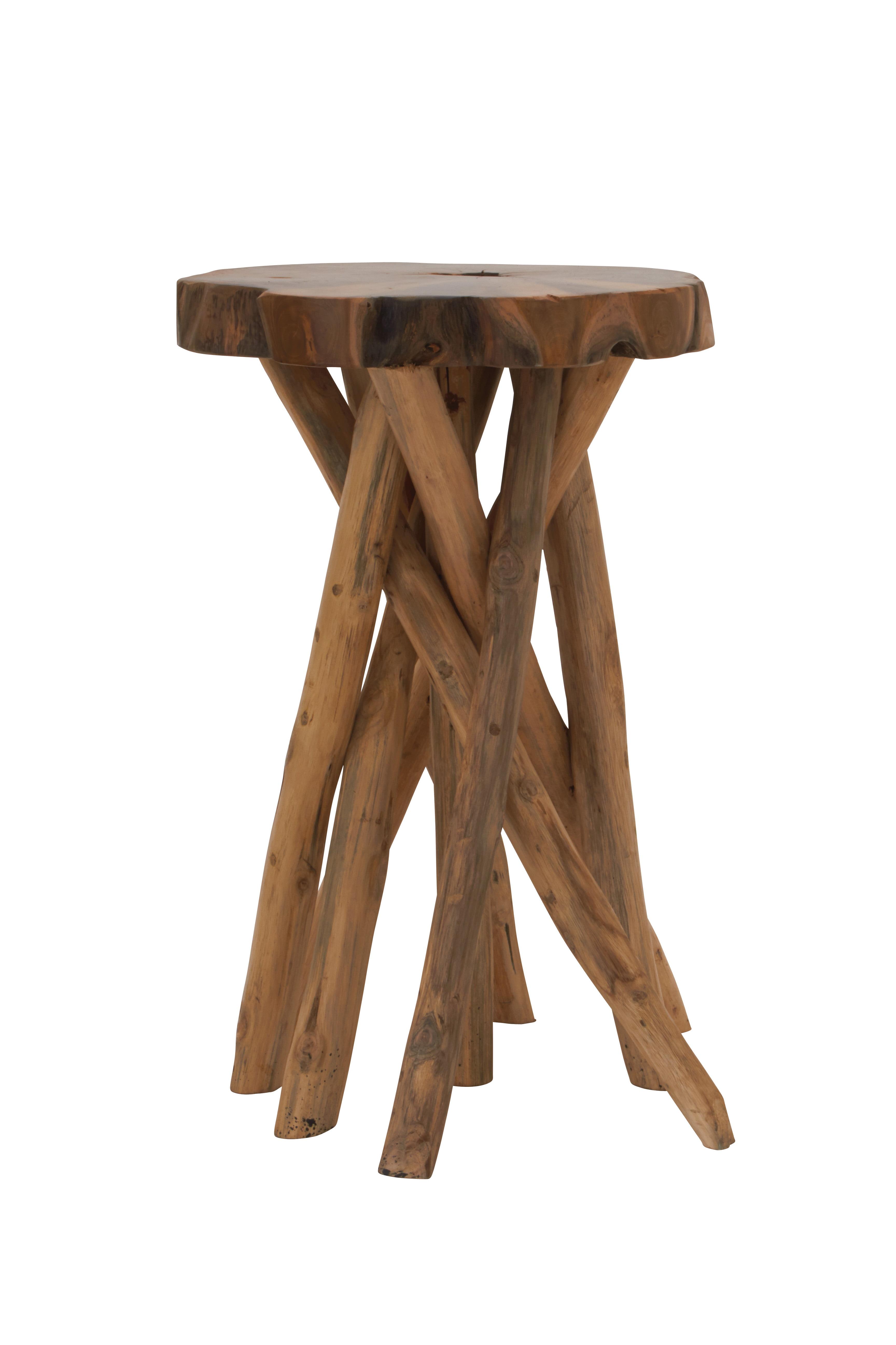 Distinctive Teak Wood Small Stool by Benzara