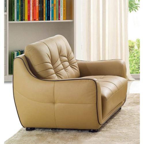 Luca Home  Cappuccino Italian Leather Loveseat
