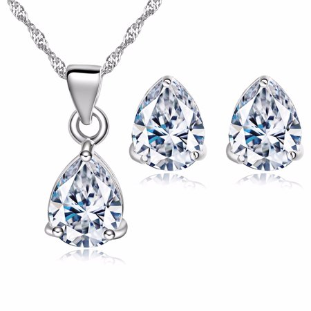 Copper Crystal Earrings - Moochi White Gold Plated Copper Waterdrop Shape Crystal Pendent Necklace Earrings Jewelry Set