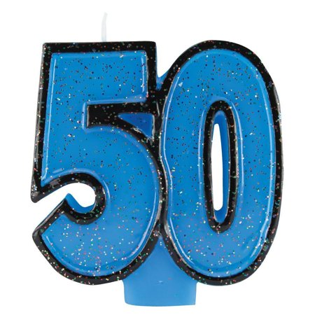 50th Birthday Candles - Creative Converting 50th Birthday Glitter Candle