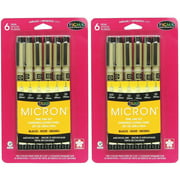 Sakura Pigma Micron Assorted Tips - 2 Sets of 6pk Pens 005, 01, 02, 03, 05, 08