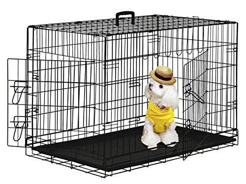 "BestPet 42"" Wire Metal Folding Pet Dog Cage Crate Kennel W 2-doors w  ABS Pla... by"