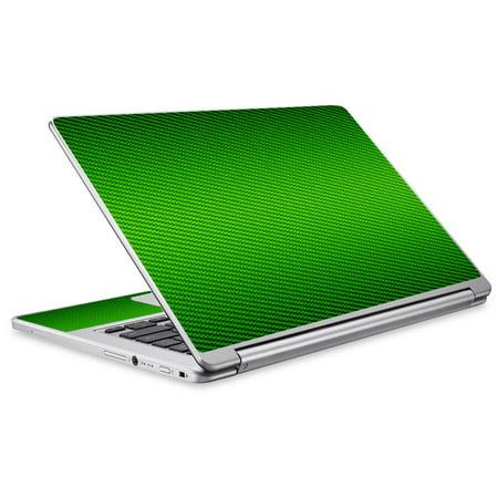 Skins Decals For Acer Chromebook R13 Laptop Vinyl Wrap / Lime Green Carbon Fiber Graphite ()