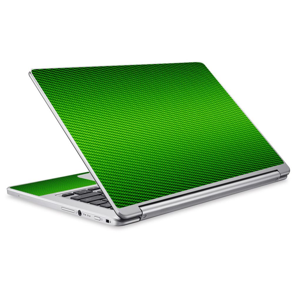 Skins Decals For Acer Chromebook R13 Laptop Vinyl Wrap / Lime Green Carbon Fiber Graphite