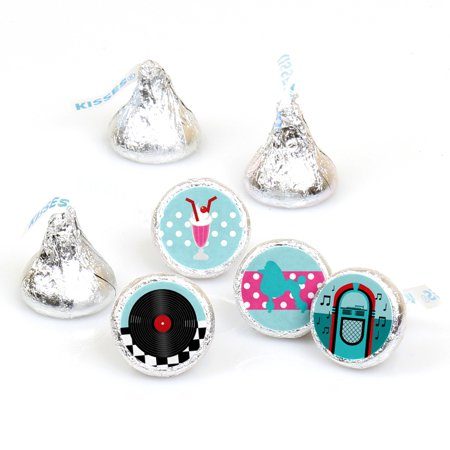 50's Theme Party Ideas (50's Sock Hop - 1950s Rock N Roll Party Round Candy Sticker Favors - Labels Fit Hershey's Kisses (1 sheet of)
