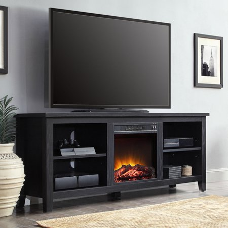 Mainstays media fireplace console television stand for tvs up to 70 simple and stylish - Mueble para chimenea electrica ...