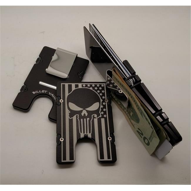 Helm American Flag Punisher RFID Protected Aluminum Wallet & Credit Card Holder, Black