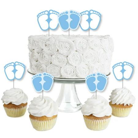 Baby Feet Blue - Dessert Cupcake Toppers - Boy Baby Shower Clear Treat Picks - Set of - Felt Cupcake