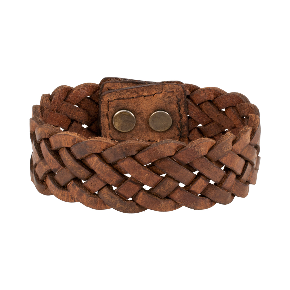 "Piercing Pros 7"" Braided Wide PU Leather Double Snap Bracelet Wristband Cuff, BROWN, BRN13"
