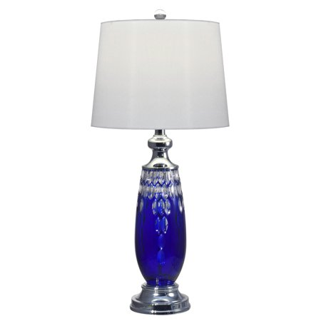 """29"""" Blue Marble Hand Cut Crystal and Polished Chrome Base Table Lamp"""