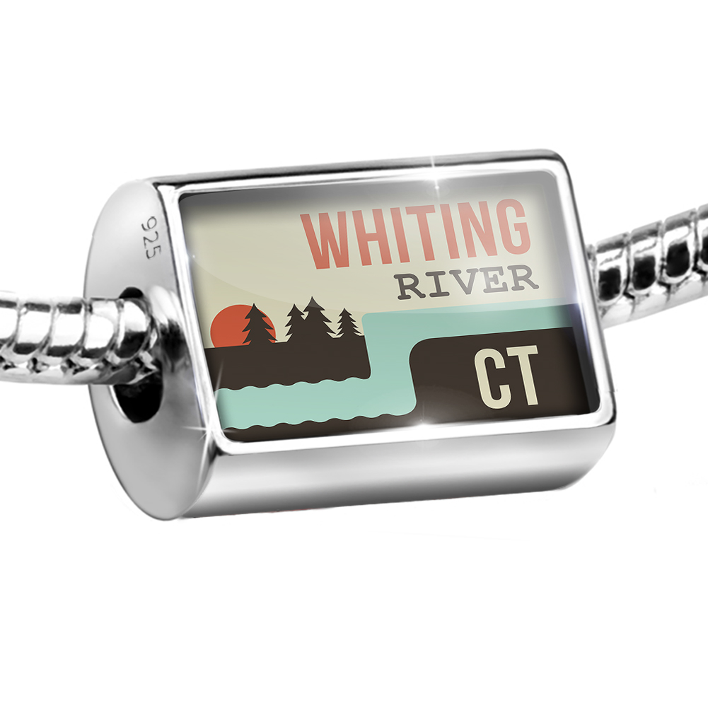 Sterling Silver Bead USA Rivers Whiting River - Connecticut Charm Fits All European Bracelets