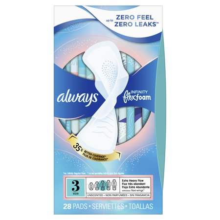 Always Infinity Extra Heavy Absorbency Sanitary Pads with Wings - Unscented - Size 3 - 28ct