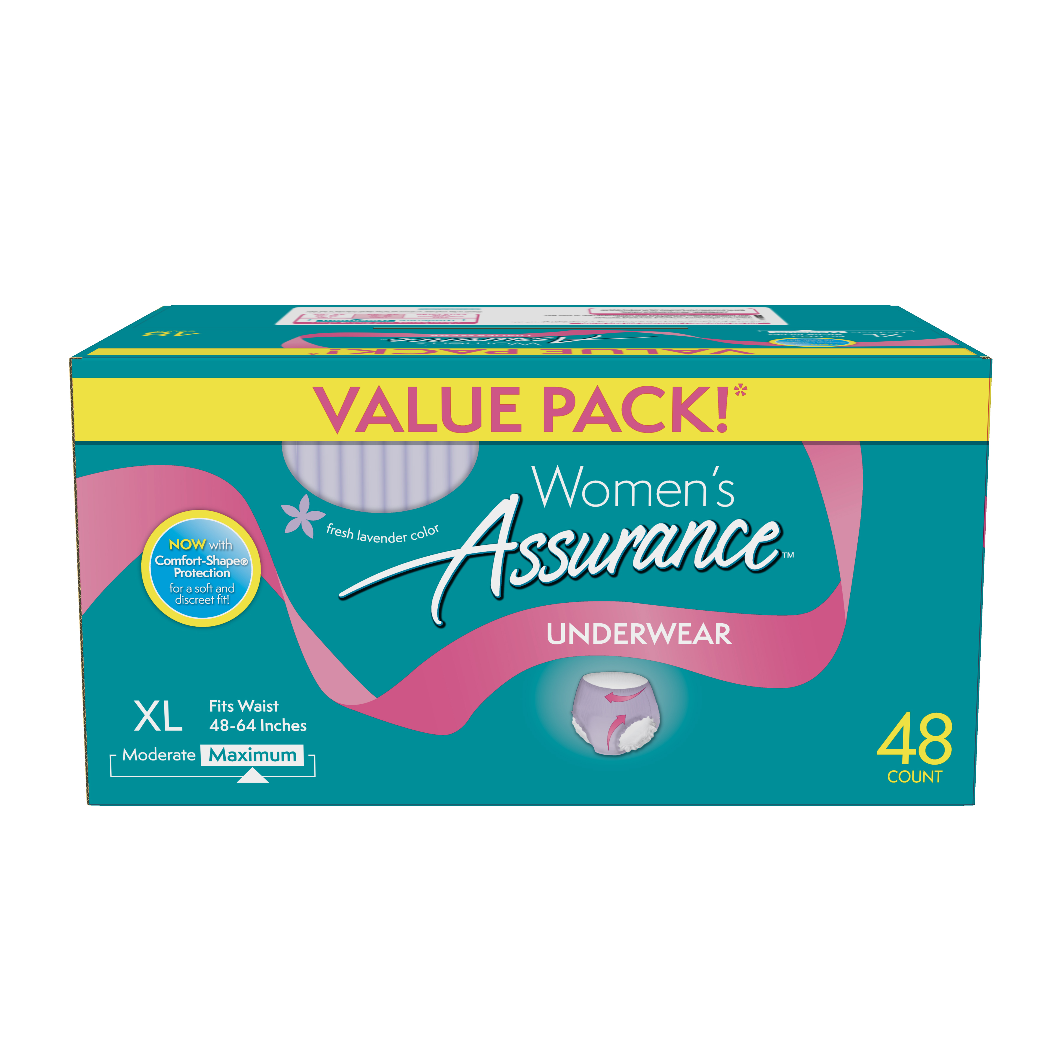 Assurance Incontinence Underwear for Women, Maximum, XL, 48 Ct