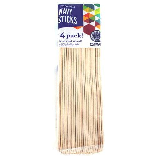 Horizon Group USA Wavy Style Wood Sticks, 24 Piece