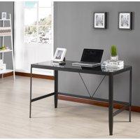 Makenna Home & Office Workstation Computer Desk, Black Metal Frame & Glass Top, Transitional