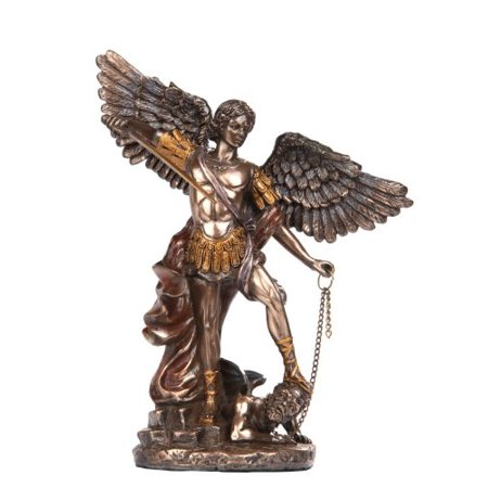 6 Inch Small Saint Michael Archangel Bronze Finish Statue Figurine (Small St Michael Archangel Statue)