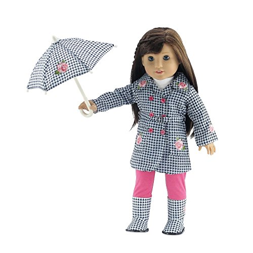 18 Inch Doll Clothes | Lovely 5-Piece Raincoat Outfit with Rose Embellishments, Including... by Emily Rose Doll Clothes