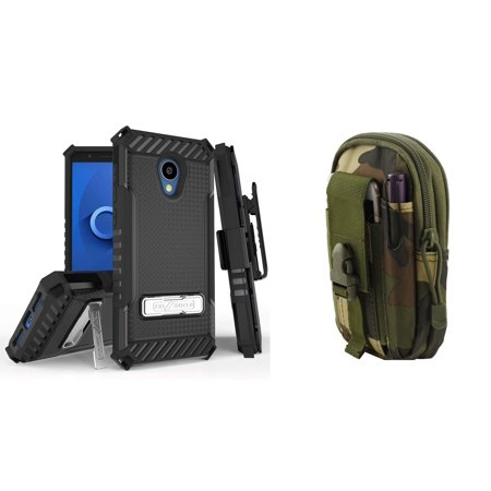 Bemz Accessory Bundle for Alcatel idealXTRA (AT&T) - Tri-Shield Military Grade Shockproof Holster Case (Black) with Tactical Pouch (Jungle) and Atom Cloth for Alcatel idealXTRA (AT&T)