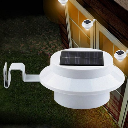 Gzyf 4Pcs Solar Powered Gutter Light 3 Led Solar Fence Lights Garden Lamp For Patio Yard Wall Gutter Energy Saving