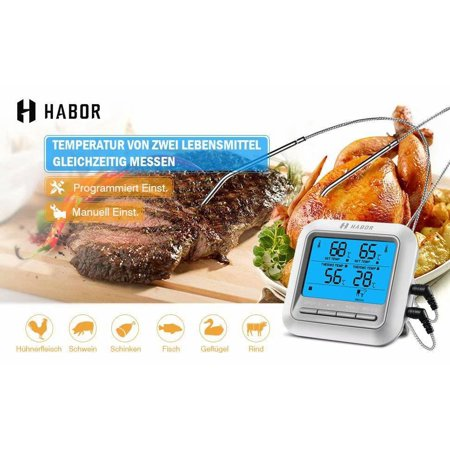 Habor Barbecue thermometer Oven thermometer Frying thermometer Barbecue Barbecue Thermometer digital thermometer, ° C / ° F adjustable, with 1m cable and dual long 304 stainless steel (Black Diamond Adjustable Probe Pole)