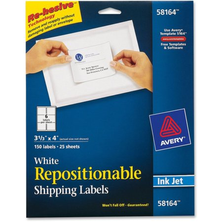 "Avery Repositionable Mailing Labels - Removable Adhesive - 4"" Width x 3.33"" Length - 6 / Sheet - Rectangle - Inkjet - White - 150 / Pack"