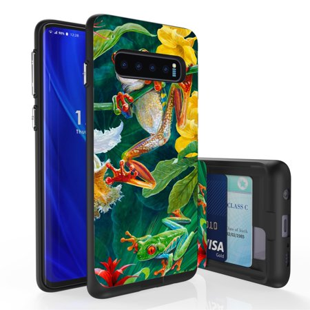 Galaxy S10 Case, PimpCase Slim Wallet Case + Dual Layer Card Holder For Samsung Galaxy S10 [NOT S10e OR S10+] (Released 2019) Frogs Wild