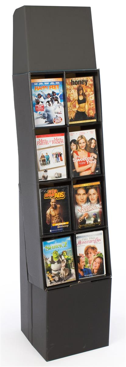 DVD Rack with 8 Display Sections, Easy Setup, Floor-standing POP Display Stand with Removable Header, Black Corrugated... by Displays2go
