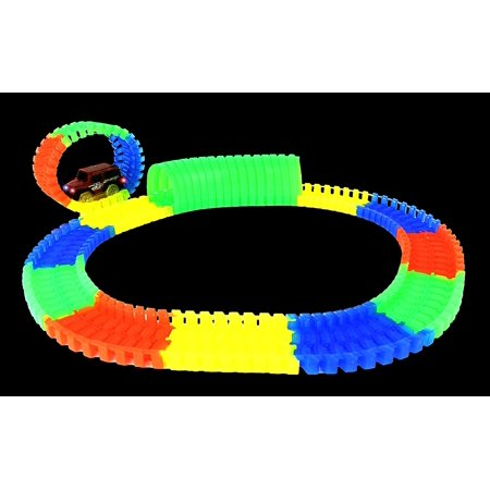 Glow In The Dark Toy Car Track Set w/ Detachable Track Road Pieces, Detachable Tunnel Pieces, & Light Up Battery Operated Car