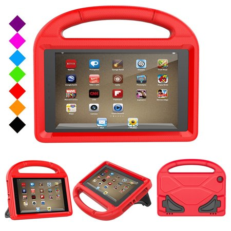 Fire HD 8 2017 Case, Fire HD 8 2016 Kids Case - Goodest EVA Multi-Functional Grip Stand Carrying Case Full Protective Case for All New Amazon Fire 8 inch Display Tablet (2016 & 2017 Release), Red