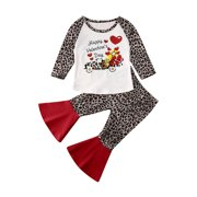Toddler Baby Girl Clothes Valentine's Day Leopard T-shirt+Flared Pant Outfits