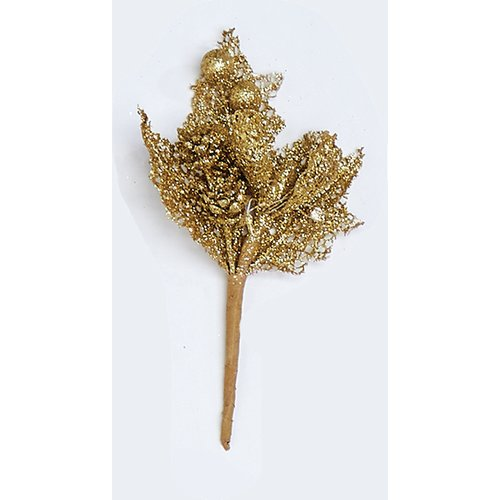 The Holiday Aisle Mini Glitter Leaf and Cone Pick Branch (Set of 6)