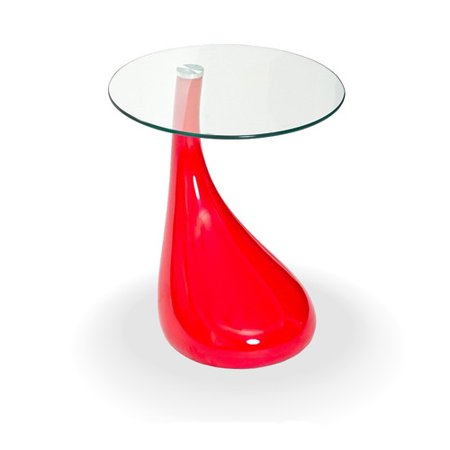 Rnd Glass Top Table (TearDrop Side Table Red Color with 18