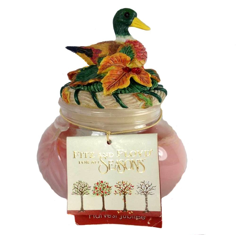 "Fitz and Floyd For All Seasons Harvest Jubilee Duck Candle 300-1291 Glass Resin Wax 6"" X 5"" X 3.25"" Inches"