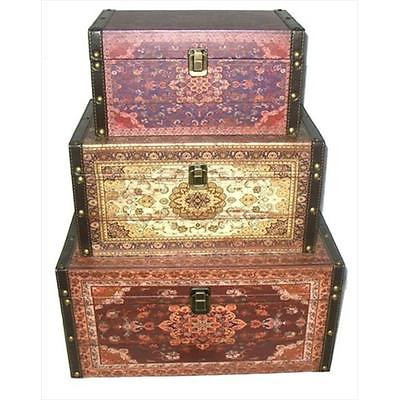 17.5 in. Oriental-Style Red, Brown & Creme Earth Tones Decorative Storage Box... Home Organizers Istilo106381