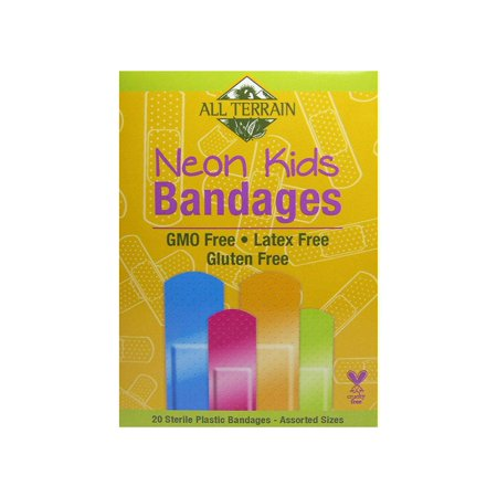 Kids Neon Bandages, Latex-Free, Fun Neon Colors, First Aid for Minor Cuts, Scrapes & Burns, 20 Sterile Bandages – Assorted Sizes, Latex-free.., By All