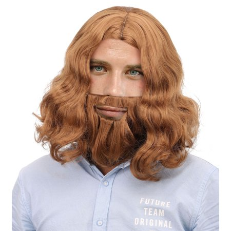 Simplicity Men's Jesus Full Brown Wig and Beard Costume Hair - Grey Beard And Wig