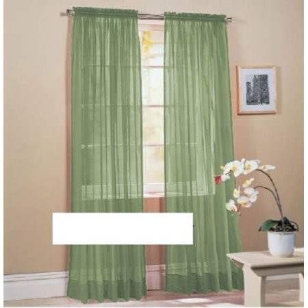 2 Piece Solid Sheer Window Curtains Rod Panels treatment 40