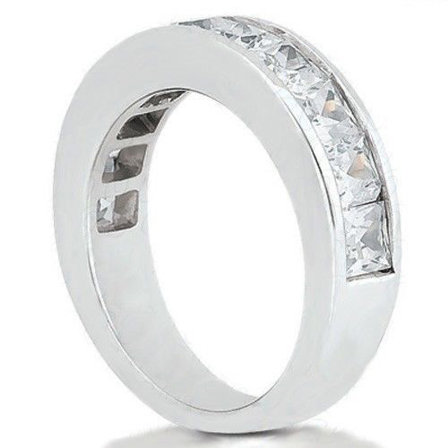 1.35ct Princess Cut 9 Diamond Anniversary Wedding Band, Size 6, Channel set, 0.15ct each Platinum by