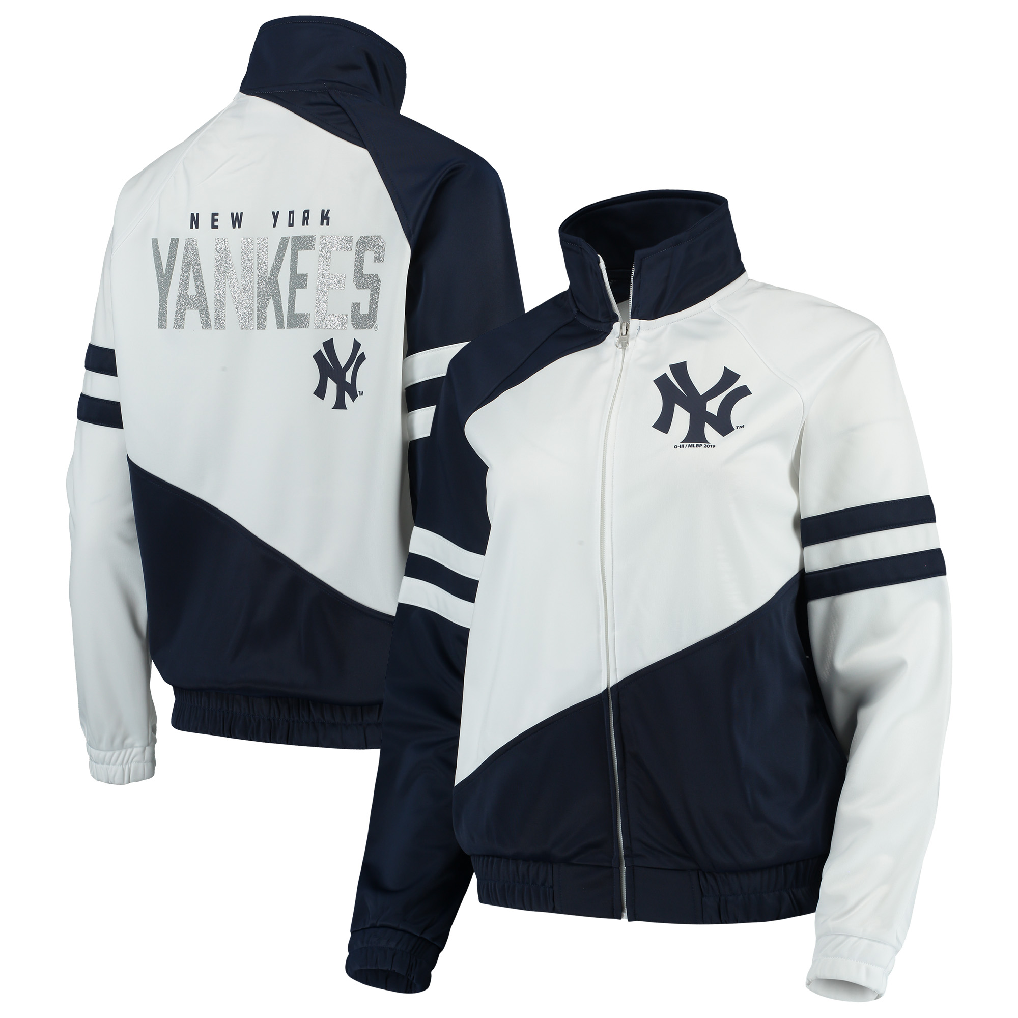 New York Yankees G-III 4Her by Carl Banks Women's Perfect Pitch Track Jacket - Navy/White