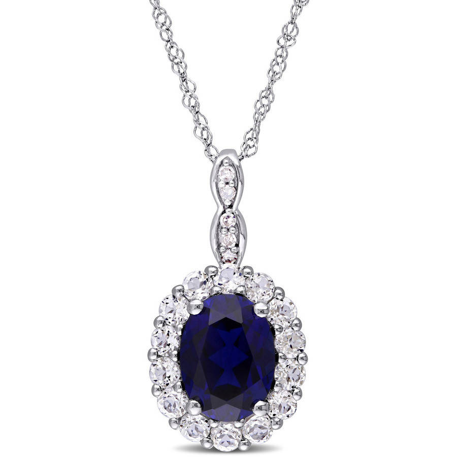 Tangelo 2-5 8 Carat T.G.W. Created Blue Sapphire, White Topaz and Diamond-Accent 14kt White Gold Vintage Oval Pendant,... by Tangelo
