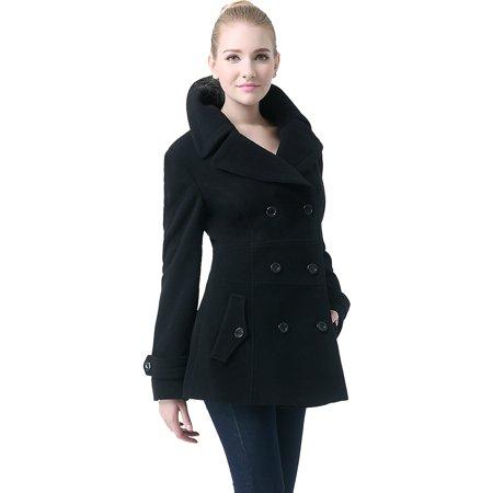 Sleeve Peacoat (Women's 'Joann' Wool Blend Pea Coat - Regular & Plus )
