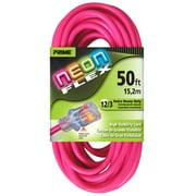 Prime NS513830 50' 12/3 SJTW Neon Pink Neon Flex Extension Cord