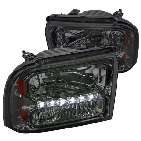 Spec-D Tuning 2005-2007 Ford F250/F350/F450/F550 Super Duty 2005 Excursion Smoke Lens Led Headlights 2005 2006 2007 (Left + Right)