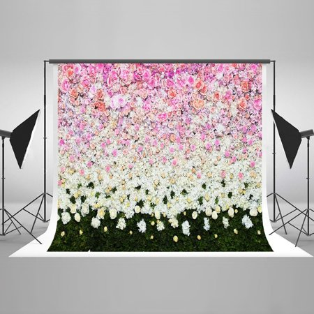 HelloDecor Polyster Photo Background Floral Wall Photography Backdrop Wedding 5x7ft Photo Backdrop Outdoor Backgrounds for Kids Birthday Party