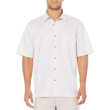 Cafe Luna Men's Short Sleeve linen Cotton one pocket Casual Button Down shirt